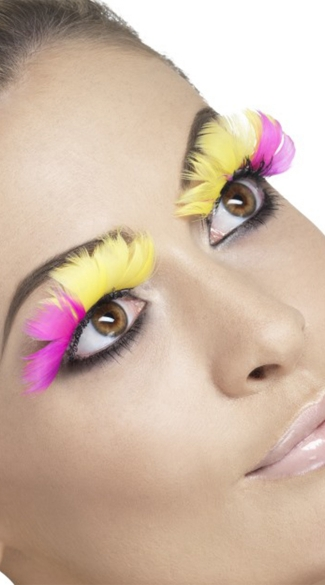 Fever Pink And Yellow Feather Eyelashes
