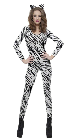 White Zebra Print Bodysuit, Animal Print Bodysuit, Sexy Bodysuit, Black and White Bodysuit