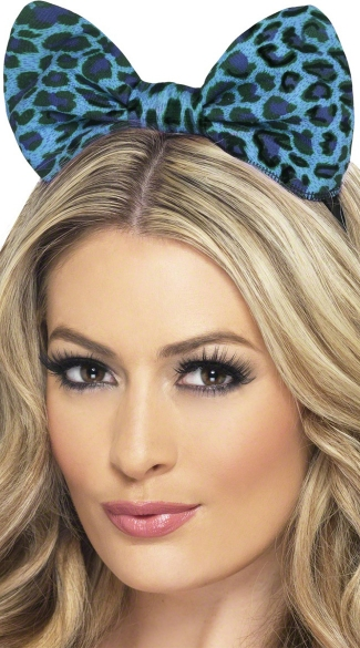 Blue Leopard Bow Headband