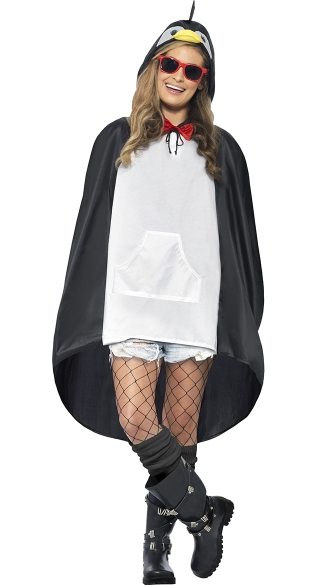 Penguin Party Poncho Costume, Unisex Costume, Penguin Costume