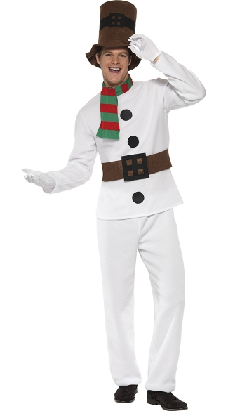 Mens Let It Snow Mr Snowman Costume, Mens Snowman Holiday Costume, Mens Snowman Christmas Costume