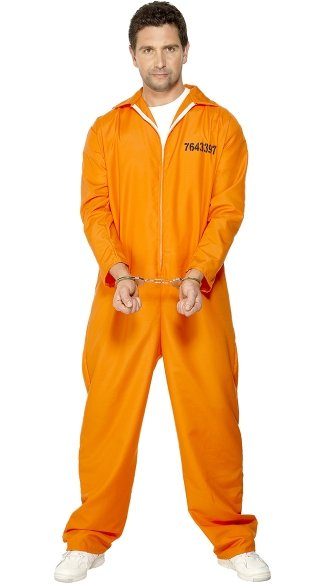 Men\'s Bad Boy Convict Costume, Orange Prison Jumpsuit Costume