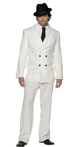 White Gangster Suit Set Gangster Costume For Men White