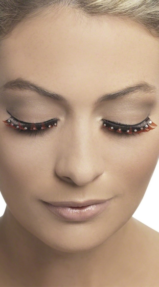 Red and Black Eyelashes with Studs