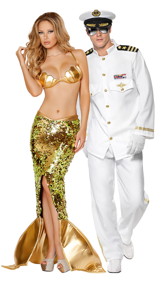 Men\'s Rock Her Boat Captian Costume, Mens Sailor Costume, Sexy Sea Siren Costume, Sequin Mermaid Costume, Gold Mermaid Costume