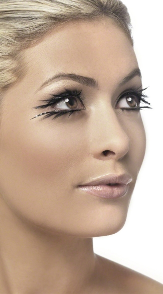 Wicked Black Eyelashes with Sparkle, Jagged Black Lashes with Studs, Studded Black Lashes