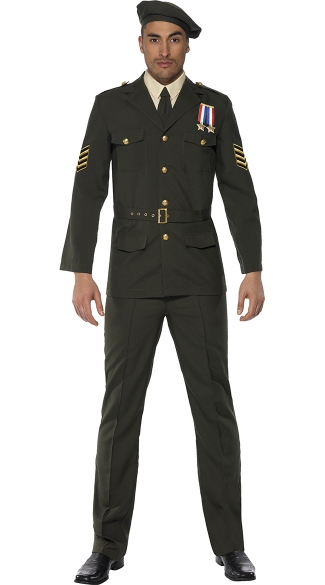 Men\'s Military Officer Costume, Mens Army Halloween Costume