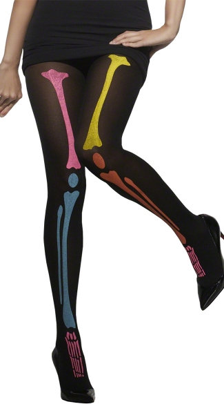Black and Neon Skeleton Tights, Sexy Skeleton Tights, Neon Bone Tights