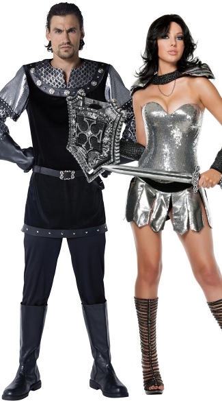 Metallic Warrior Couples Costume, Men\'s Royally Knighted Costume, Medieval Knight Costume, Sexy Knight Costume, Sexy Dragon Slayer Costume