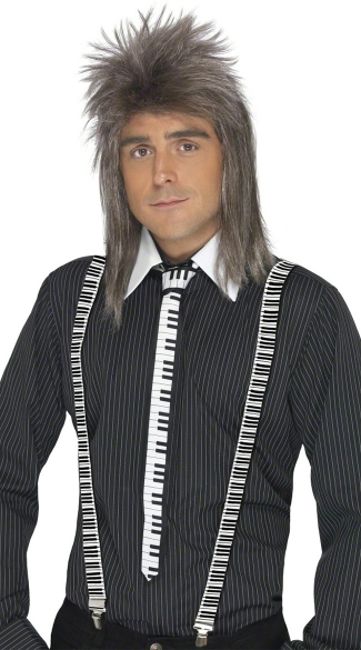 Piano Keyboard Tie and Suspenders, Keyboard Printed Tie and Keyboard Printed Suspenders, Piano Key Pattern Tie and Suspenders