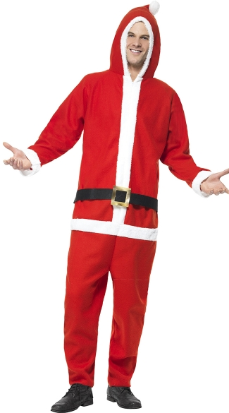 Mens Santa Jumpsuit, Mens One Piece Santa Costume, Mens Onesie Santa Costume