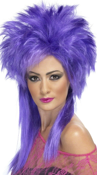 Purple Groovy Punk Chick Wig, 80\'s Wig, Purple Wig