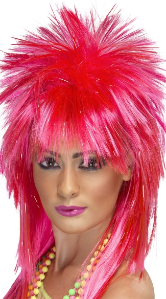 Neon Pink Heavy Metal Rock Diva Wig, Wigs For Women, 80s Wigs
