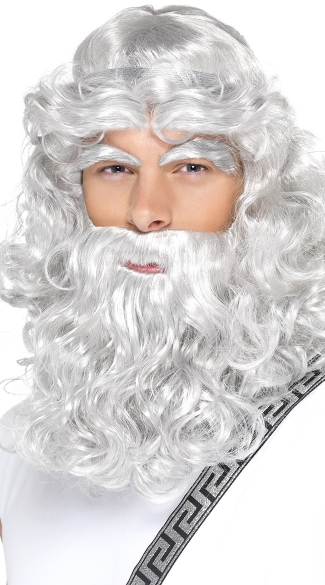 Zeus Wig and Beard, Gray Wig and Beard, Wig with Attached Beard