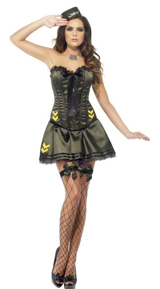 Fever Boutique Army Corset And Tutu Camo
