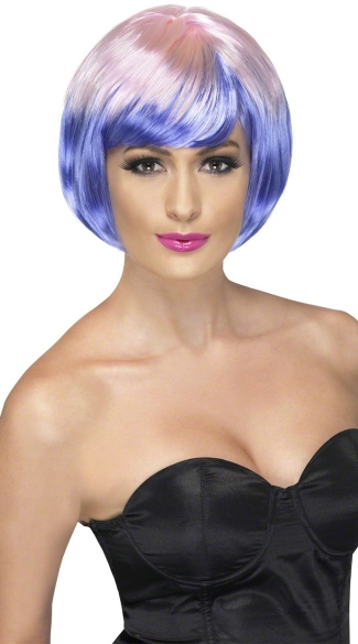 Pink and Purple Bob Wig, Funky Babe Wig, Pink and Purple Babe Wig