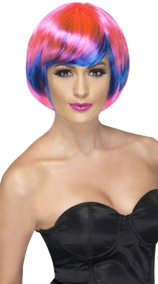 Pink and Blue Bob Wig, Funky Babe Wig, Pink and Blue Babe Wig