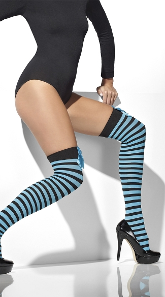 Black and Blue Striped Stockings