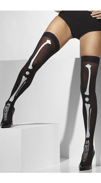 Black Skeleton Print Thigh High Stockings, Bone Print Tights, Black Skull Tights