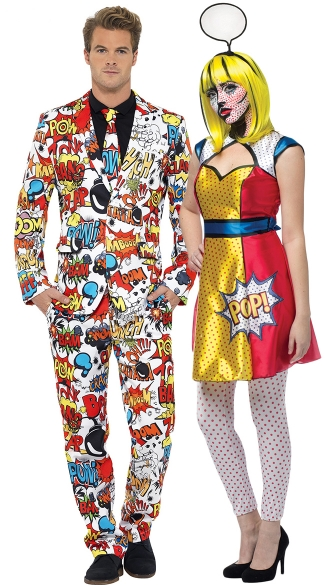 Comic Book Couples Costume, Comic Couples Costume, Pop Art Couples Costume, Couples Pop Art Costume