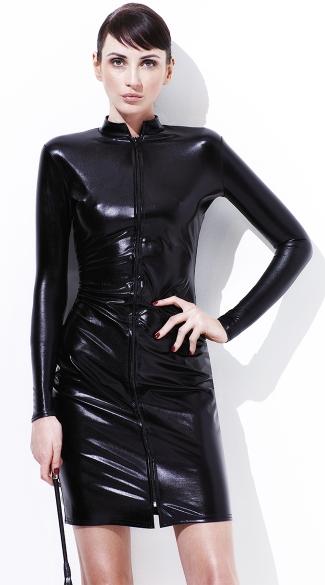 Free Cheap Sf >> Whiplash Pencil Dress, Black Vinyl Dress, Long Sleeve ...