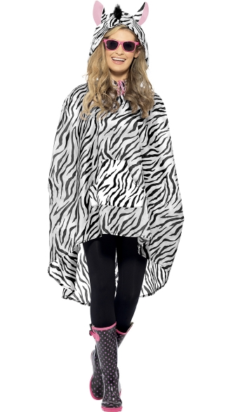 Zebra Party Poncho Costume, Animal Poncho, Zebra Costume