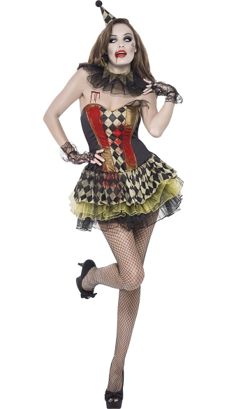 Zombie Circus Clown Costume, Scary Clown Costume, Killer Clown Costume