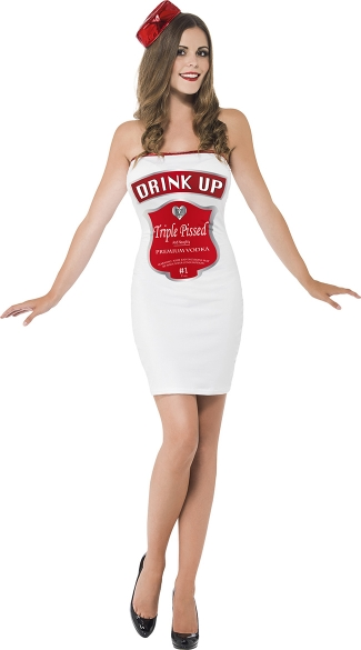 Drink Up Darling Liquor Bottle Costume, Vodka Bottle Costume