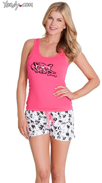 Dog Gone Cute Tank and Short Set, Dog Print Pajamas, Tank Top and Short Pajamas
