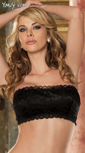 Shiny Textronic Stretch Lace Bandeau Top