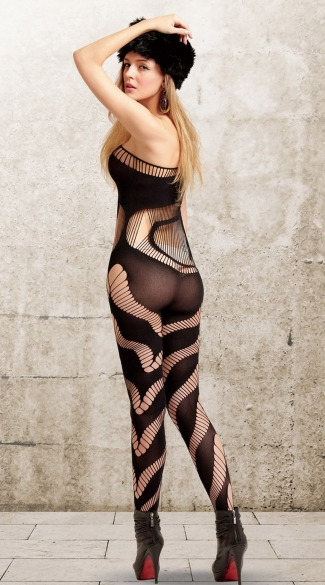 Black Strings and Swirls Bodystocking
