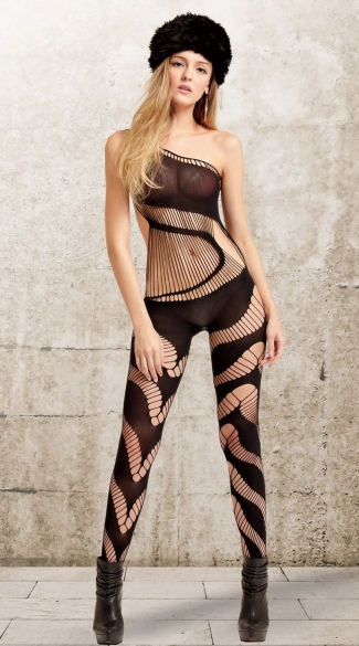 Black Strings and Swirls Bodystocking, Black Opaque and Swirl Net Bodystocking, Sexy Black Swirly Bodystocking