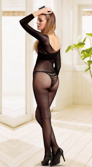 Banded Fishnet Crotchless Bodystocking
