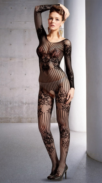 Floral Net Long Sleeve Bodystocking
