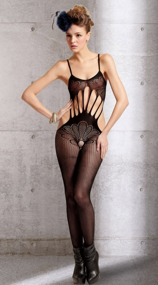 Petals and Strings Crotchless Bodystocking, Open Crotch Black Net Bodystocking, Strings Open Crotch Bodystocking