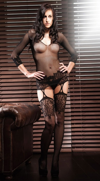 Seamless Fishnet Garter Dress with Stockings