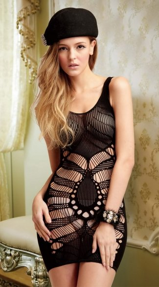 Seamless Teardrop Net Mini Dress