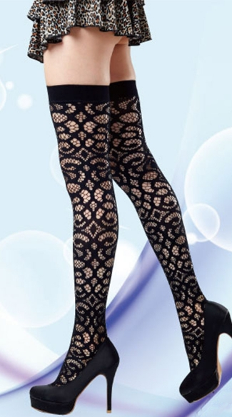 Scrollwork Crochet Thigh Highs