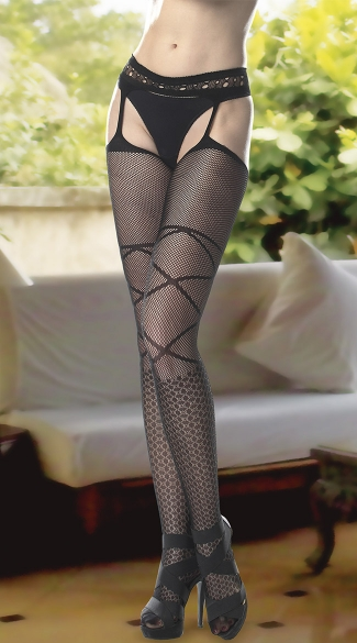 Criss Cross Thigh High Garter Stockings