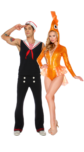 Men\'s Retro Sailor Costume, Men\'s Sailor Costume, Men\'s Navy Costume, Deluxe Sexy Goldfish Costume. Sparkly Goldfish Costume, Sexy Goldfish Halloween Costume, Glitter Goldfish Costume
