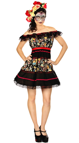 Plus Size Fiesta Of The Dead Costume, Day Of The Dead Costume, Plus Size Skeleton Dress