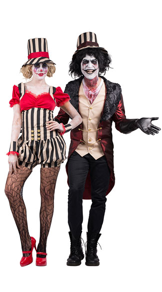 Psycho Circus Couples Costume, Psycho Circus Clown Costume, Sexy Clown Costume, Scary Clown Costume, Men\'s Mad House Master Costume, Men\'s Ringmaster Costume, Men\'s Circus Costume