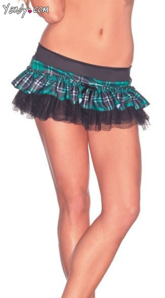 Mini Plaid Skirt, Plaid Petticoat, Mini Printed Petticoat