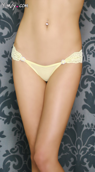 Lace Band Thong with Studded Circles