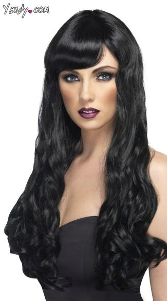 Long Black Curled Wig, Black Long Wig, Black Wig with Bangs