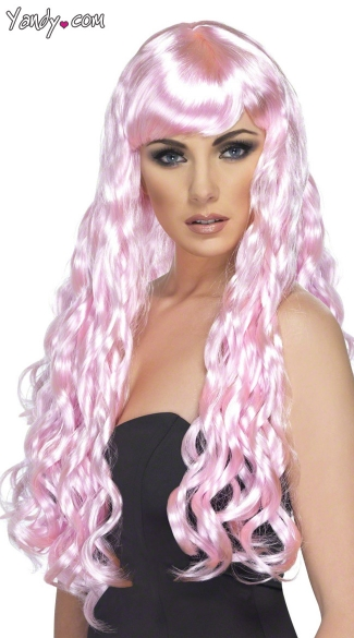 Long Candy Pink Curled Wig