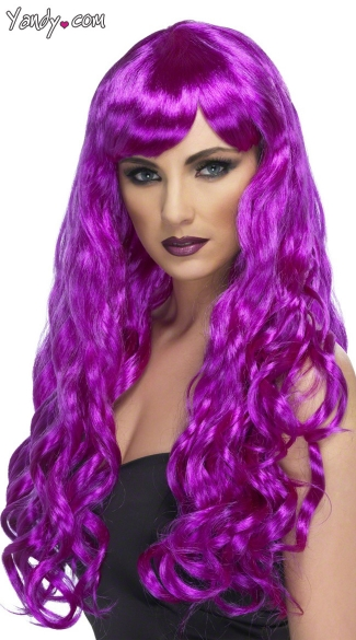 Long Neon Purple Curled Wig, Purple Costume Wig, Long Purple Wig