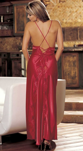 Satin And Lace Long Gown