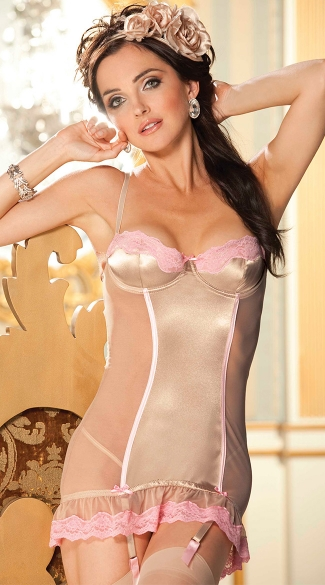 Stretch Satin and Scallop Lace Chemise