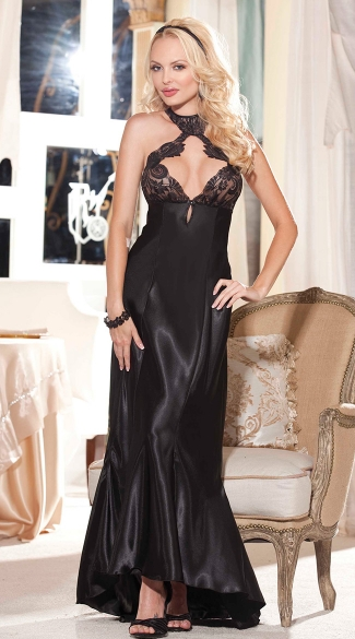 Charmeuse and Lace Cut Out Gown